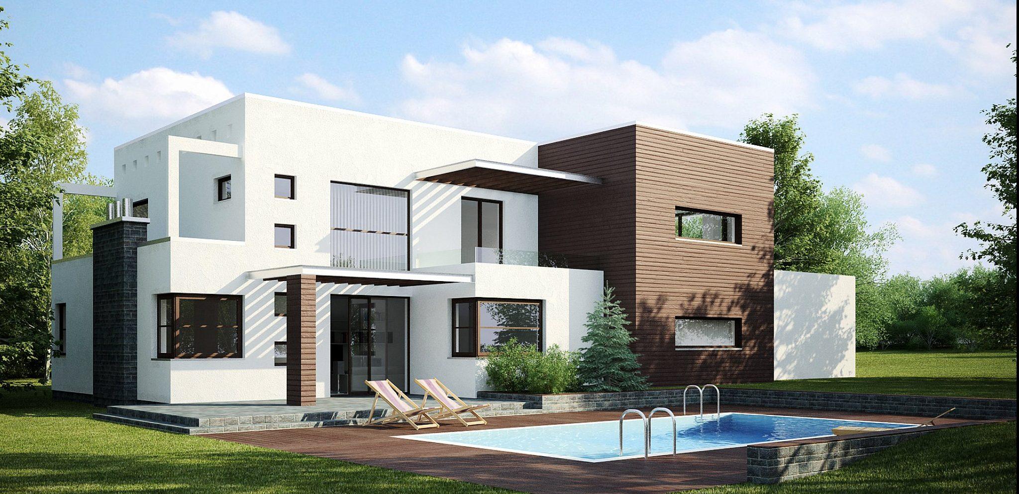 Фасад дома исполнен по технологии короед