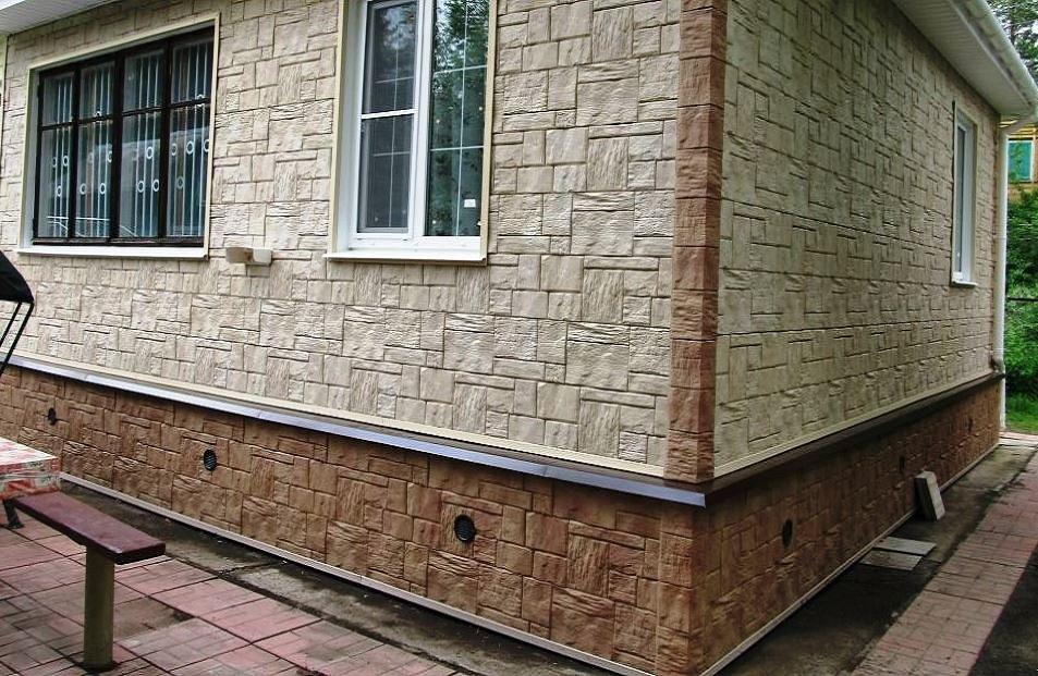 отделка фасада частного дома искусственным камнем