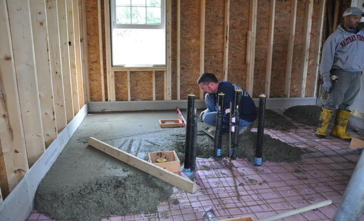 заливка бетона на лаги